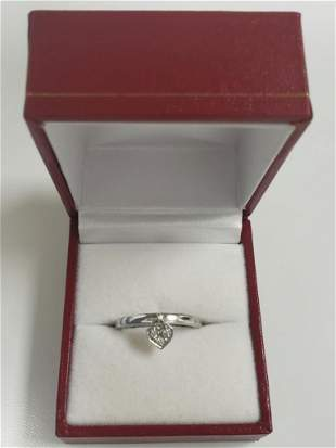 Diamond Heart Ring In White Gold Over Sterling Silver