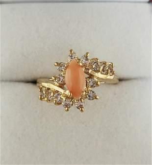 Ladies 0.51 ct Oval Cut Pink Quartz Stone Ring