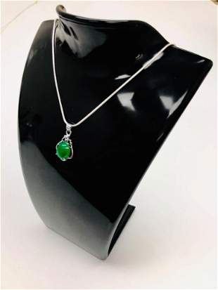 Unique 925 Silver Green Jade Pendant Paired With