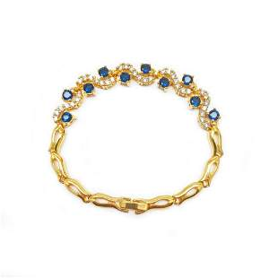 Bejewelled Blue & White Stone Gold Plated Ladies