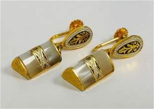 Ladies Vintage Mother Of Pearl Earrings In 18K Gold