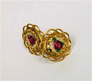 Ladies Hand Embroidered Floral Earrings Mounted In An