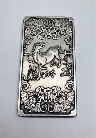 Tibetan Silver Bullion Depicting The Horse