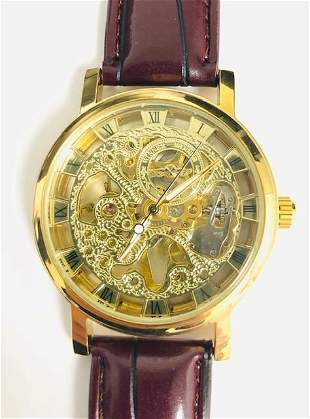 Genuine Leather Banded Skeleton Dial Automatic Watch