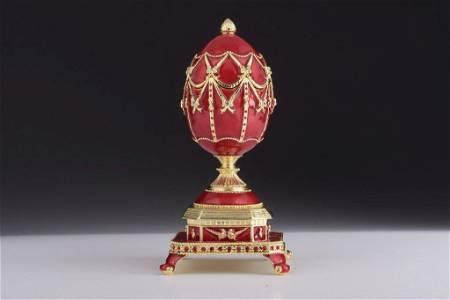 Enamel Painted Inspired Faberge Egg Trinket Box