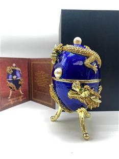 Asian Faberge Inspired Blue & Gilt Inspired Enameled