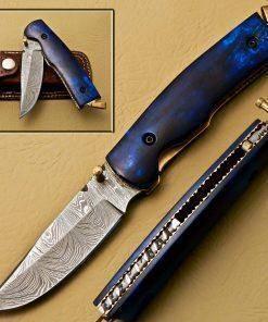Ocean's Commander Damascus Steel Folding Pocket Knife