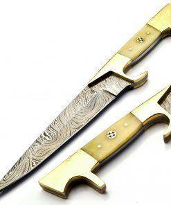 Grave Keeper Damascus Steel Blade Hunting Knife With