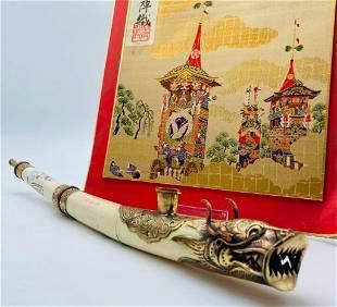Hand Made Scrimshaw Asian Decorated Bone Ceremonial