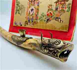 Hand Made Scrimshaw Asian Decorated Wooden Ceremonial