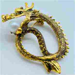 Chinese Gold Tone Dragon Brooch With Pearl