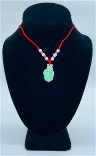 Asian Green Jade Carved Koi Fish Pendant Paired With