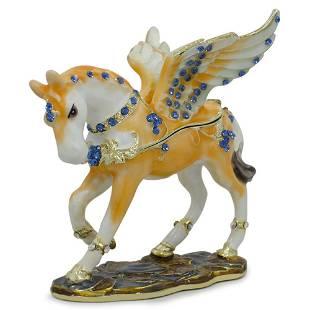 Jeweled Pegasus Horse Trinket Box Figurine 3.25 Inches