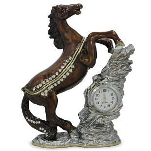 Jeweled Noble Horse with Clock Trinket Box Figurine 4.5