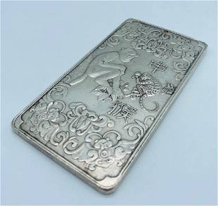 Tibetan Silver Amulet Bar Depicting The Year Of The