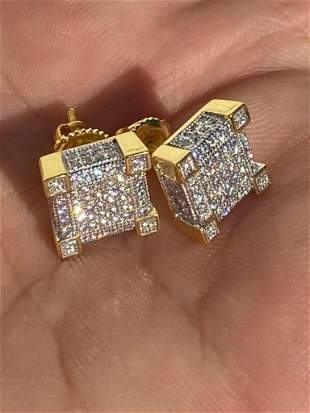 """Men's Solid 925 Gold Plated CZ Stud Earrings 1/4"""""""