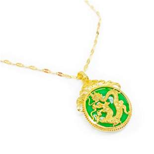 Chinese Carved Green Jade In Gold Dragon Mount Necklace