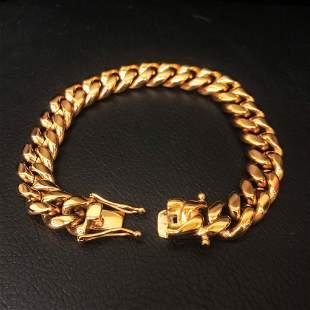 Mens 18KT Gold Plated Cuban Link Bracelet