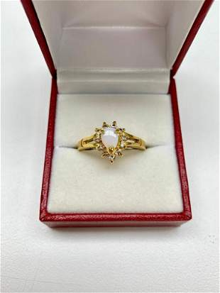 Ladies .13ct Pear Cut White Opal set in 18K Gold Plated