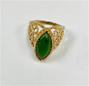 Elegant Ladies 3.73 Carat 14k Gold Jade Ring