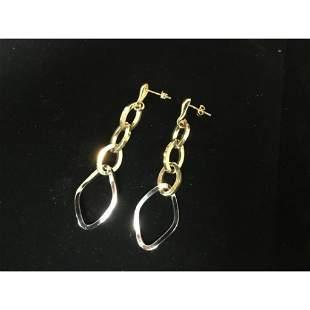 Pair of 14K Gold Vintage Oval Link Earrings