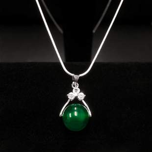 Sterling Silver 925 Necklace With Green Jade Sphere
