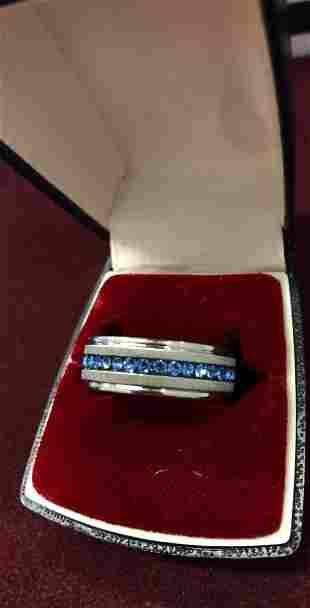 Ladies Titanium Steel Silver Brushed Blue Rhinestone
