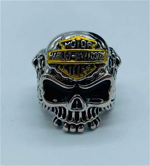 Mens Harley Davidson Skull Head Motorcycle Ring Size 10
