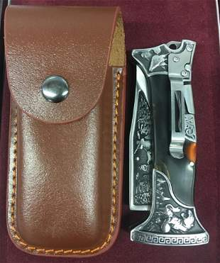 Solid Steel Folding Hunting Knife With Leather Sheath