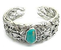 Turquoise Center Set Tibetan Silver Feather Designed