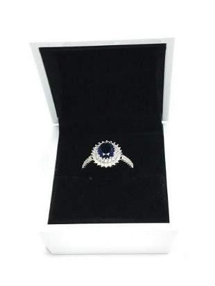 Sterling 925 Ladies Sapphire Austrian Crystal Set