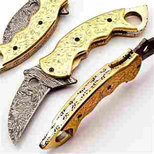 The Golden Talon Damascus Steel Karambit Knife