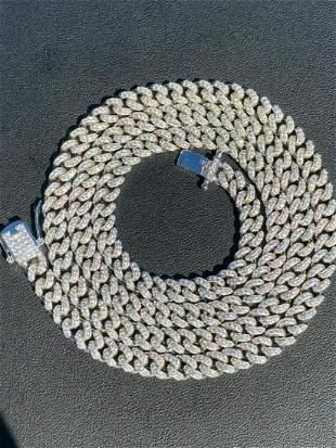 "20"" California Cuban Iced Solid 925 Silver Chain"