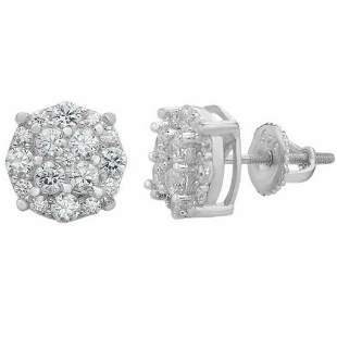 """Solid 925 Sterling Silver CZ 1/3"""" Round Cluster Studs"""