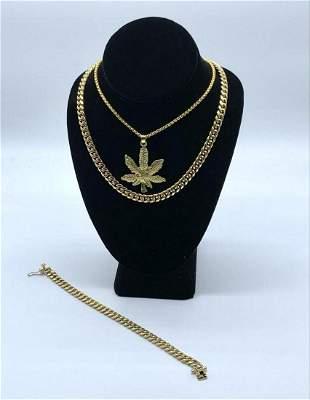 14K Gold Plated Chain & Bracelet with Marijuana Leaf