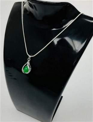 Unique 925 Silver Green Jade Trapped Sphere Pendant