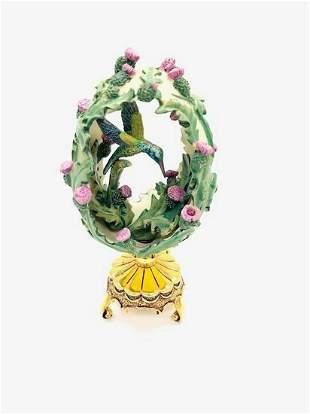 Franklin Mint Cirsium vulgare Hummingbird Faberge Egg
