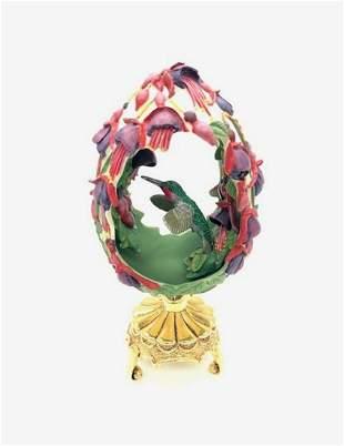 Franklin Mint Fuchsia Flower Hummingbird Faberge Egg On