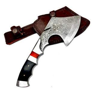 Full Tang Wood And Steel Handle Damascus Hatchet
