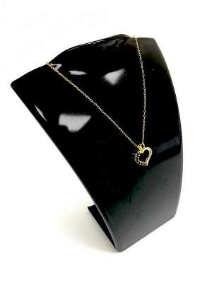 Black Onyx Heart Pendant on 18K Gold Plated Chain