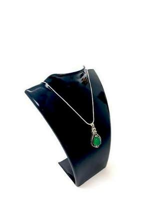 Green Agate Chalcedony 925 Silver Crystal Drop Shape