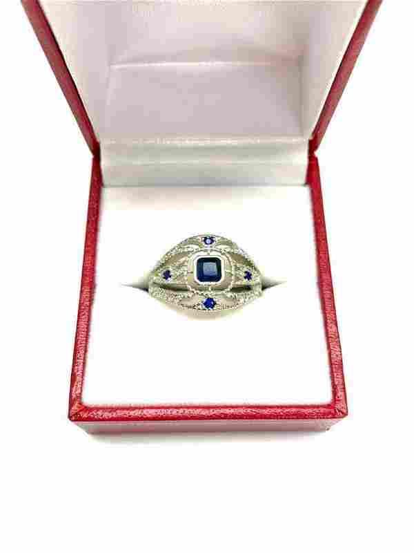 Ladies Stunning Faux Sapphire Gemstone Cluster Ring
