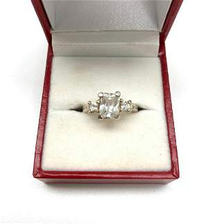 Ladies Size 5 Emerald Cut Crystal in Three Stone Style
