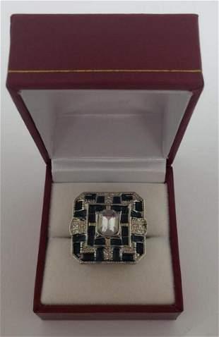 Ladies Blue Enamel & Silver Semi-Precious Stone Ring