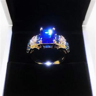 Ladies 6K Tanzanite Stone Ring, Mounted On Gold Tone