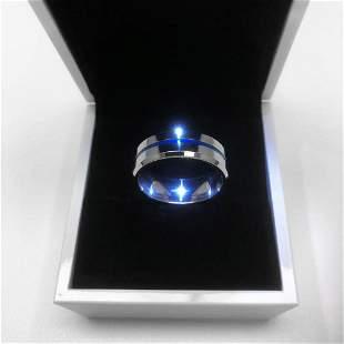 Men's Titanium Steel Silver Blue Engagement Ring
