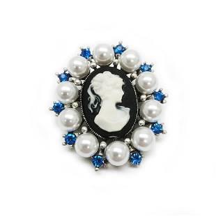 Blue Rhinestone And White Pearl Cameo Broach