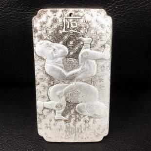 Tibetan Silver Siamese Asian Marked Amulet Bar