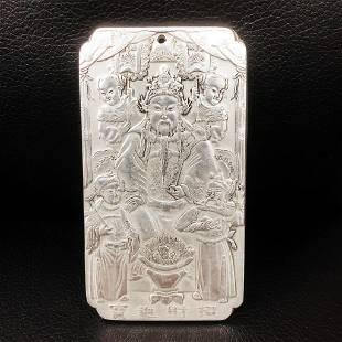 Tibetan Silver Emperor Marked Amulet Bar