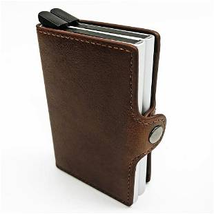 RFID Leather Wallet with Card pop out Mechanism